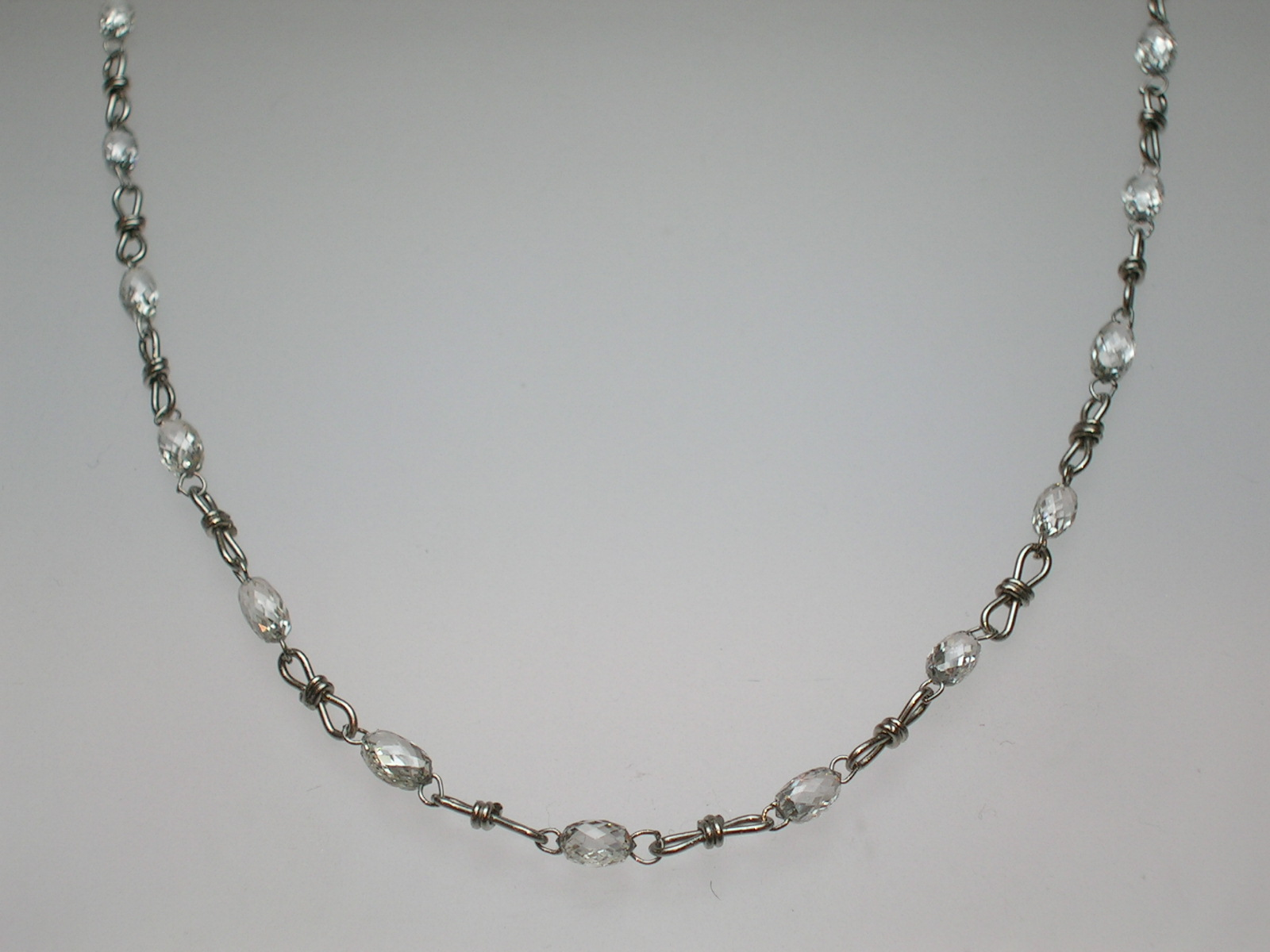 Platinum And Diamond Briolette Necklace With Hand Wired