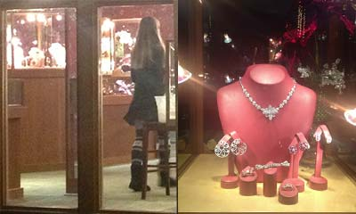 Photo of inside the store, and a jewelry display case