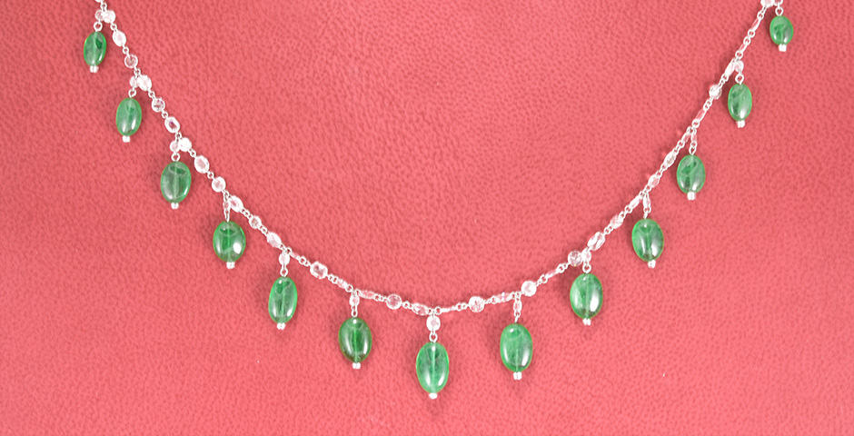 White 18 Karat Gold Drop Diamond Necklace With 15=2.38Tw Pear F/G Vs1 Diamonds And 15=0.69Tw Round F/G Vs1 Diamonds